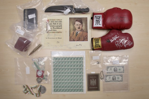 These are some of the memorabilia items recovered from an area home burglary as seen Thursday, May 25, 2017, at the Clay County Sheriff's Office in Moorhead. Dave Wallis / The Forum