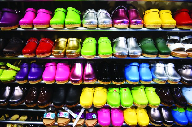 At Sven's Factory Outlet, were they make their clogs in the basement, you can find clones in almost every color in Chisago City Thursday, April 13, 2017. (Special to the Pioneer Press: Craig Lassig)