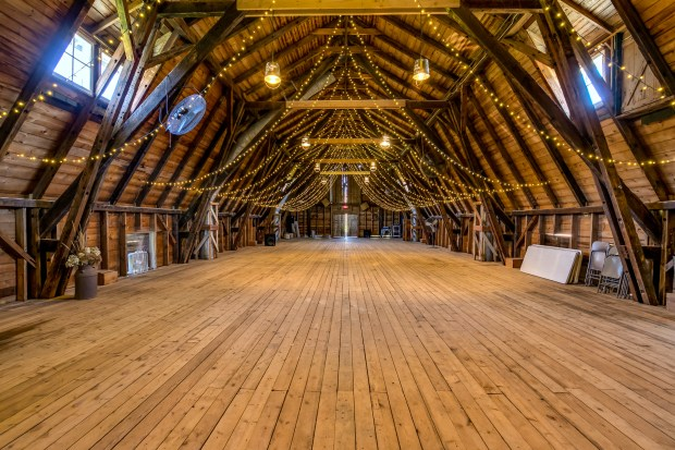 The interior of the barn at Big Rock Creek Farm, which is about three miles north of St. Croix Falls, Wis. The 925-acre property, which has been owned by one family for more than 100 years, is now for sale for $2.7 million. (Courtesy of Coldwell Banker Burnet)