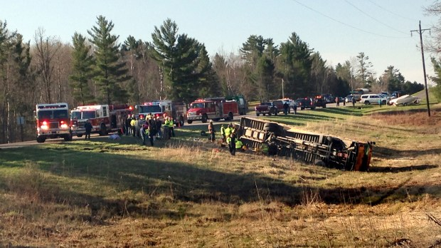 Emergency personnel at the scene after school bus crash north of Bemidji, Minn. on Wednesday morning, May 3, 2017. One student was airlifted and five others removed by ambulance after a school bus filled with elementary students was struck by a car. The bus came to rest on its side in the ditch. Beltrami County Sheriff Phil Hodapp said the car failed to stop at a stop sign there. (Courtesy photo via Forum News Service)