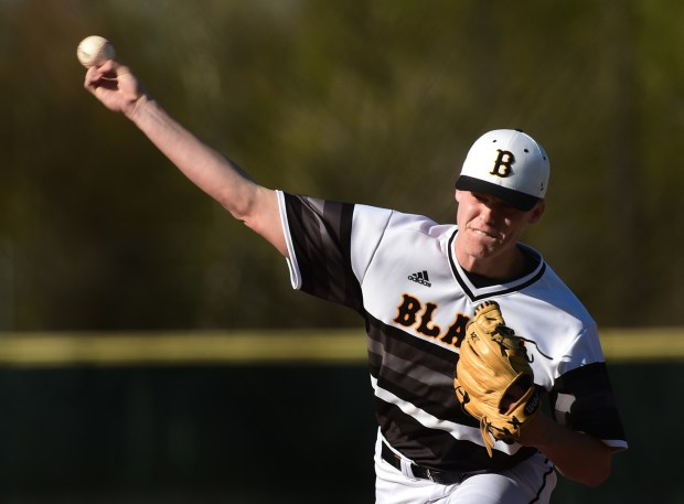 Sam Carlson pitches for Burnsville against Prior Lake in high school baseball game in Burnsville on Tuesday, May 2, 2017. Carlson is a possible first-round pick in June's major league draft. (Scott Takushi / Pioneer Press)