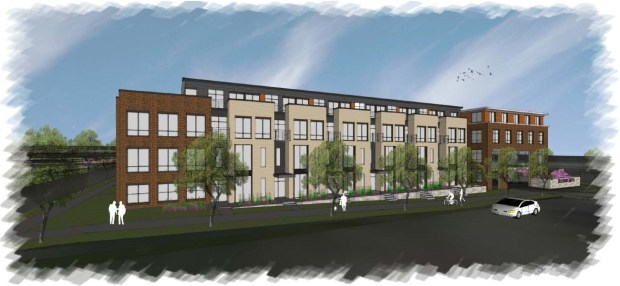 Undated courtesy image, circa May 2017, of a proposed apartment and commerical development to be built on St. Paul's West Side. A developer plans to construct 640 to 830 apartments near the Mississippi River west of Robert Street in St. Paul's West Side. Hunt Development plans multiple phases of construction on a mostly-vacant 13.4-acre site between Fillmore Avenue and Plato Boulevard, including 30,000 to 80,000 square feet of commercial space. (Courtesy / Fillmore Avenue Apartments LLC)