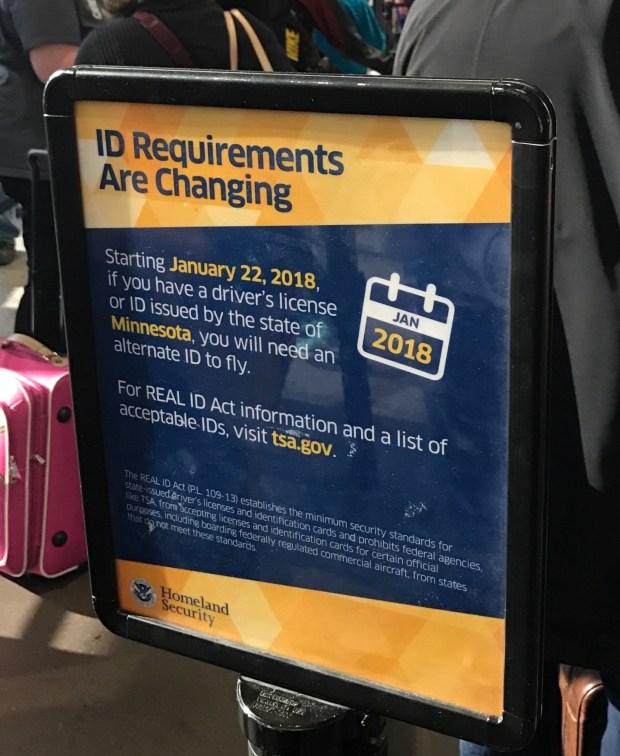Signs are posted at the Minneapolis-St. Paul Airport warning flyers that Real ID is coming (Dana Wais/Special to the Pioneer Press)