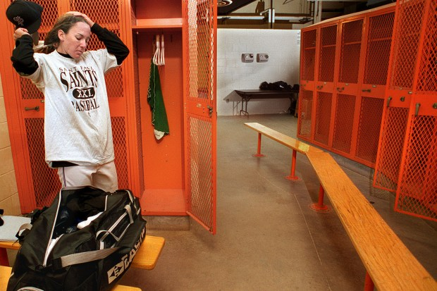 """Ila Borders was given her own locker room -- the visitors' clubhouse -- the day of her first workout with the Saints at Midway Stadium in St. Paul on May 15, 1997. """"I'm not used this,'' she said. """"I usually have to change in the dugout.'' (Bill Alkofer / Pioneer Press)"""