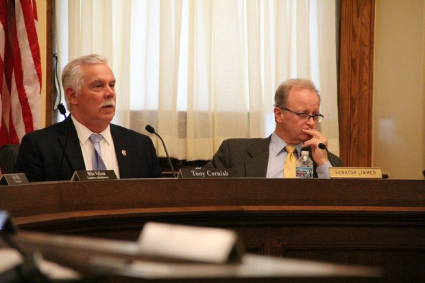 Rep. Tony Cornish, R-Vernon Center, and Sen. Warren Limmer, R-Maple Grove, listen to debate about the judiciary and public safety budget Monday, May 22, at the state Capitol. (Christopher Magan: Pioneer Press)