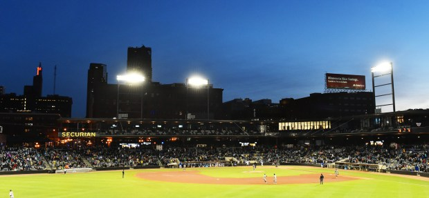 CHS Field in St. Paul as in the seventh inning of the Saints home opener against the Gary SouthShore RailCats on Thursday, May 18, 2017. (Special to Pioneer Press/John Autey)