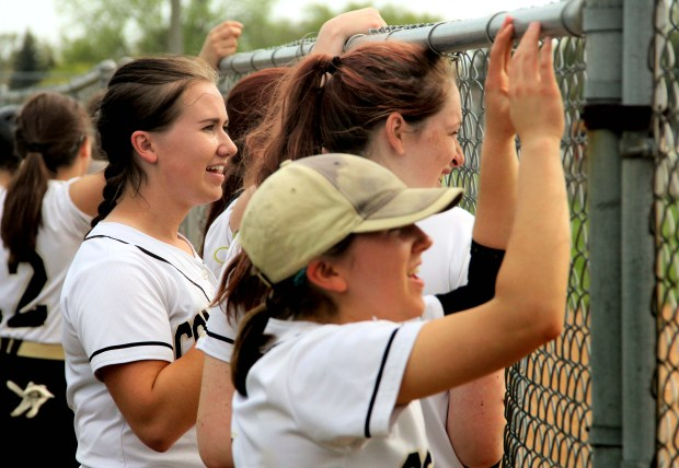 Como Park senior pitcher Kathryn Proper, left, watches during the Cougars' 12-0 win over Harding on Friday, May 5, 2017, at Harding High School. Proper is 12-3 this season with a 0.79 earned run average and 221 strikeouts in 92 innings pitched. (Jace Frederick / Pioneer Press)