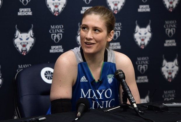 Guard Lindsay Whalen answers questions as the Minnesota Lynx held their annual media day in Minneapolis, Monday, May 1, 2017.  Scott Takushi  Pioneer Press