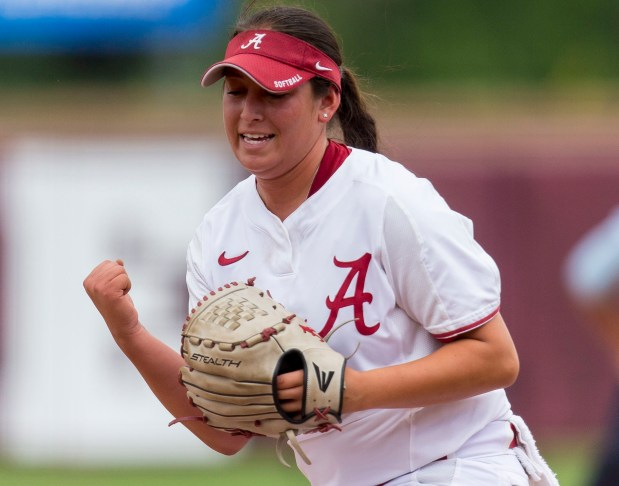 Alabama pitcher Alexis Osorio (27) pumps her fist after stranding a Minnesota runner on first in the first inning in the NCAA regional softball tournament, Saturday, May 20, 2017, at Rhoads Stadium in Tuscaloosa, Ala. Alabama won 1-0. (Vasha Hunt/AL.com via AP)