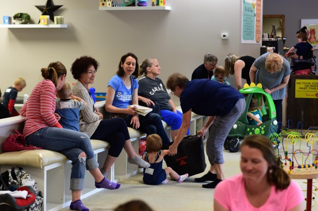 There are plenty of places for parents to sit and interact with each other at the Wishing Tree Play Cafe in Vadnais Heights, owned by Jenny and Bryan Enloe, Tuesday, May 16, 2017.  Scott Takushi  Pioneer Press