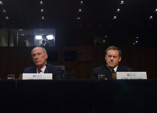 Director of National Intelligence Daniel Coats, left, and National Security Agency Director Adm. Michael Rogers prepare to testify before the Senate Intelligence Committee on May 11. MUST CREDIT: Washington Post photo by Jahi Chikwendiu