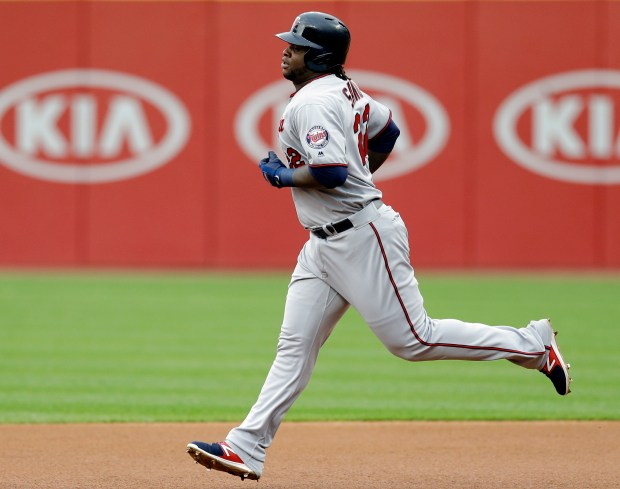 Minnesota Twins' Miguel Sano runs the bases after hitting a solo home run off Cleveland Indians starting pitcher Josh Tomlin during the first inning of a baseball game, Friday, May 12, 2017, in Cleveland. (AP Photo/Tony Dejak)