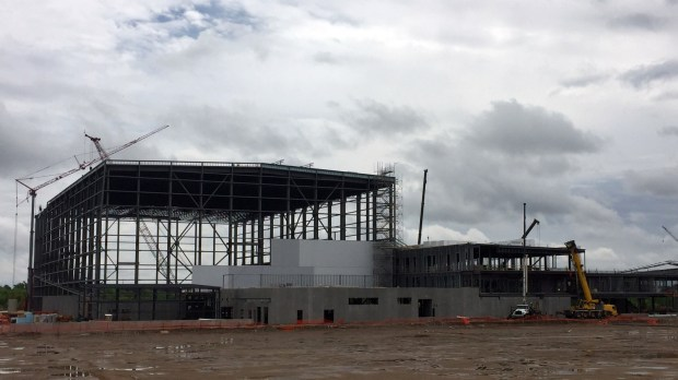 The new Vikings headquarters and indoor practice facility under construction on May 17, 2017. It's being built on 40 acres east of Dodd Road and south of Interstate 494 in Eagan. (Nick Ferraro / Pioneer Press)