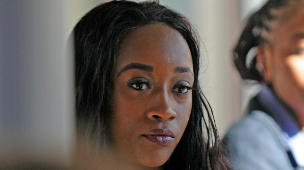Diamond Reynolds, the girlfriend of Philando Castile, approaches security while entering the Ramsey County Courthouse in St. Paul, Minn., Tuesday, June 6, 2017, before her second day of testifying at the trial of St. Anthony police officer Jeronimo Yanez for the July 2016 killing of Castile in Falcon Heights. Reynolds, who was seated next to Castile when he was shot, streamed the aftermath of the shooting live on Facebook, bringing national attention to the incident. (Dave Orrick / Pioneer Press)