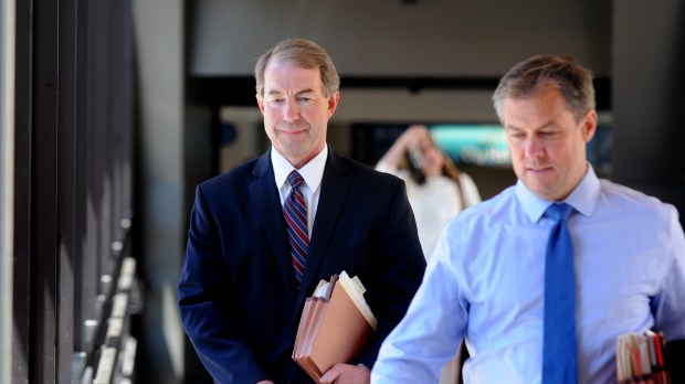 State prosecutor Jeffrey Paulsen, left, and Assistant Ramsey County Attorney Richard Dusterhoft walk through the skyway into the Ramsey County Courthouse in St. Paul on Tuesday, June 6, 2017, before the trial resumes for St. Anthony polce officer Jeronimo Yanez in the July 2016 killing of Philando Castile during a traffic stop in Falcon Heights. (Dave Orrick / Pioneer Press)