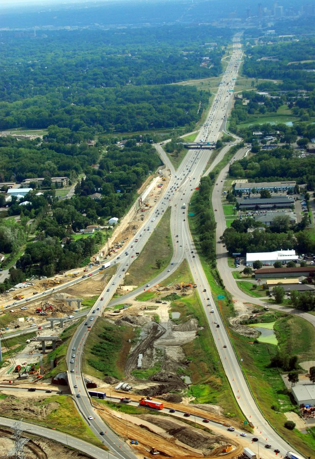 An aerial view looking south towards St. Paul of I-35E (see skyline in top right of frame) and the construction project 'Unweave the Weave', which is the separation of I-35E and I-694, on Friday, August 4th, 2006.photo: Ben Garvin