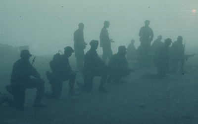 Lieutenant Thomas Brindley's platoon in the morning fog. Brindley was killed in action in the Vietnam War.