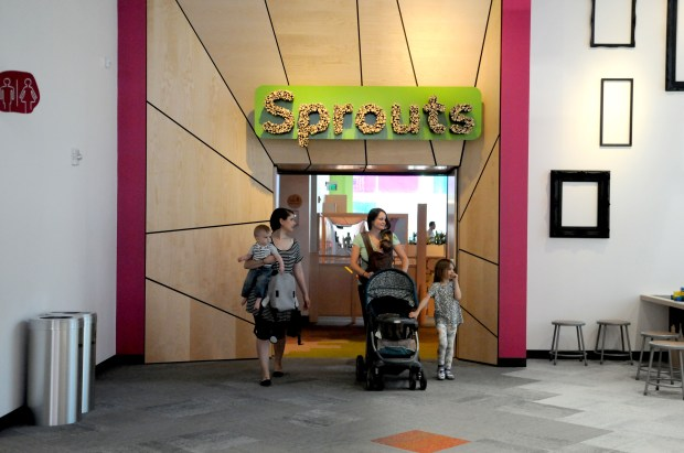 Families leave the Sprouts exhibit, one of 10 new attractions that opened at the Minnesota Children's Museum on Tuesday, June 7th, 2017. Sprouts was designed specifically for babies and toddlers. The museum officially reopens Wednesday. (Ginger Pinson / Pioneer Press)
