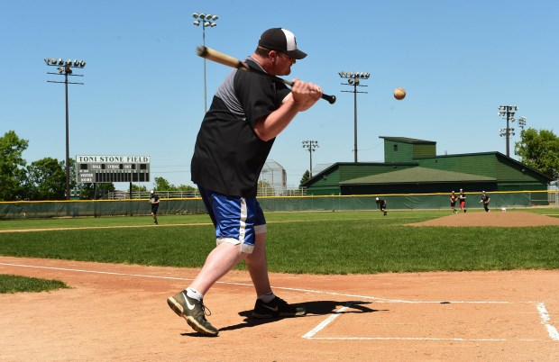 Head Coach Adam Hunkins bats during fielding practice as the Central High School varsity baseball team works out at Toni Stone Field, a city-owned ballfield, Wednesday, May 31, 2017. A battle is heating up between athletic officials at Central High School and the city over use of city-owned fields including Toni Stone, the jewel of all the city's ballfields. (Scott Takushi / Pioneer Press)