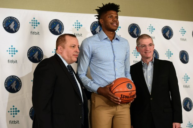 Justin Patton, acquired by the Minnesota Timberwolves in a draft-night trade with Chicago after being selected with the 16th overall pick by the Bulls, was introduced to the media Tuesday, June 27, 2017 in Minneapolis. Timberwolves President of Basketball Operations/Head Coach Tom Thibodeau is left and General Manager Scott Layden is at right. (Scott Takushi / Pioneer Press)
