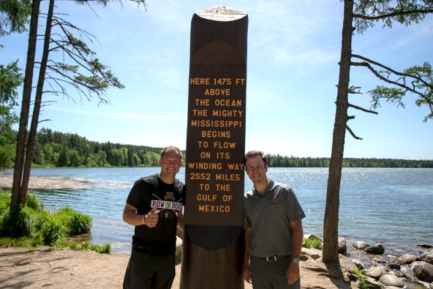 Minnesota football coach P.J. Fleck, left, and men's basketball coach Richard Pitino pose for a photo at Itasca State Park during the Gophers Road Trip on Tuesday, June 6, 2017. The two Gophers coaches are neighbors in Edina and have become fast friends on the Gophers Road Trip. Their bond: exchanging coaching philosophies or off-field tips and stories of acclimating to Minnesota. (Courtesy of Courtney Anderson/University of Minnesota)