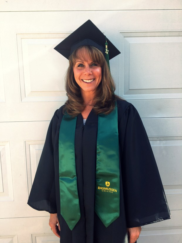 Fourth-grade teacher Sara Ross, 49, of Anoka, will be the student speaker at Rasmussen College's commencement on Saturday, June 17; she will speak about returning to school to earn her associate's degree in law enforcement.