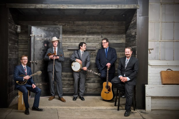 Twin Cities bluegrass band the High 48s: Mike Hedding, Eric Christopher, Anthony Ihrig, Marty Marrone and Rich Casey. (Courtesy of Jamey Guy)