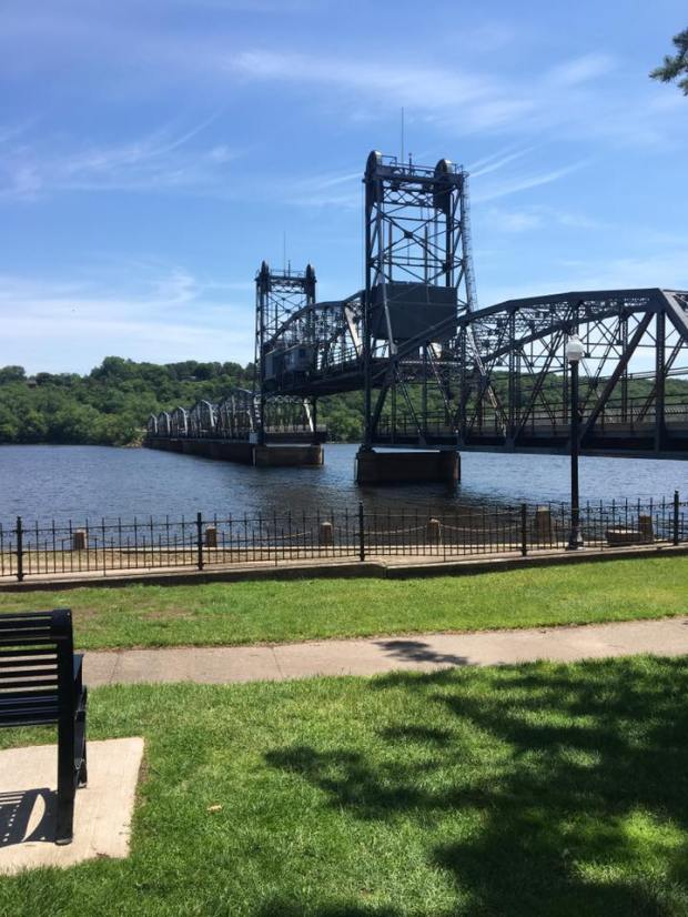 The Stillwater Lift Bridge is stuck in the up position Tuesday, June 27, 2017, after an electric outage. (Courtesy of Katie Buck Quayle)