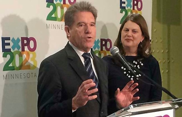 Former Minnesota Secretary of State Mark Ritchie, left, and former UnitedHealth Group executive Lois Quam lay out their vision for the 2023 Expo during a news conference on Friday, April 10, 2015, in St. Paul. (Pioneer Press: Nick Woltman)
