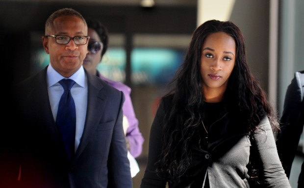 Diamond Reynolds, right, the girlfriend of Philando Castile, walks into the Ramsey County Courthouse in St. Paul, Minn., Tuesday, June 6, 2017, before her second day of testifying at the trial of St. Anthony police officer Jeronimo Yanez for the July 2016 killing of Castile in Falcon Heights. Among those accompanying her is her attorney Larry Rogers, left. Reynolds, who was seated next to Castile when he was shot, streamed the aftermath of the shooting live on Facebook, bringing national attention to the incident. (Dave Orrick / Pioneer Press)