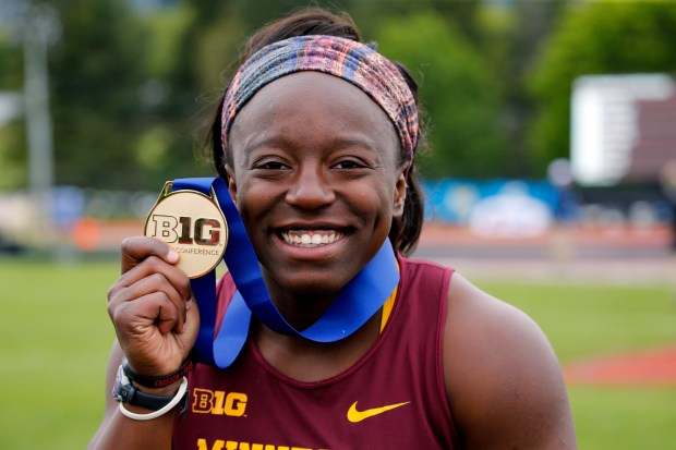 Minnesota's Temi Ogunrinde at the Big Ten championship in University Park, Penn. on Friday, May 12, 2017. Ogunrinde, a Park Cottage Grove graduate, is a redshirt sophomore hammer thrower who's competing at the NCAA championships this week in Eugene, Ore. (Eric Miller / University of Minnesota Athletics)