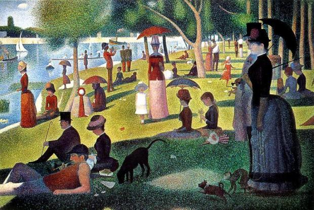 """George Seurat's painting, """"A Sunday Afternoon on the Island of La Grande Jatte,"""" is in the collection of the Art Institute of Chicago. The painting is entirely composed of dots of color, which factors into the musical inspired by the painting."""