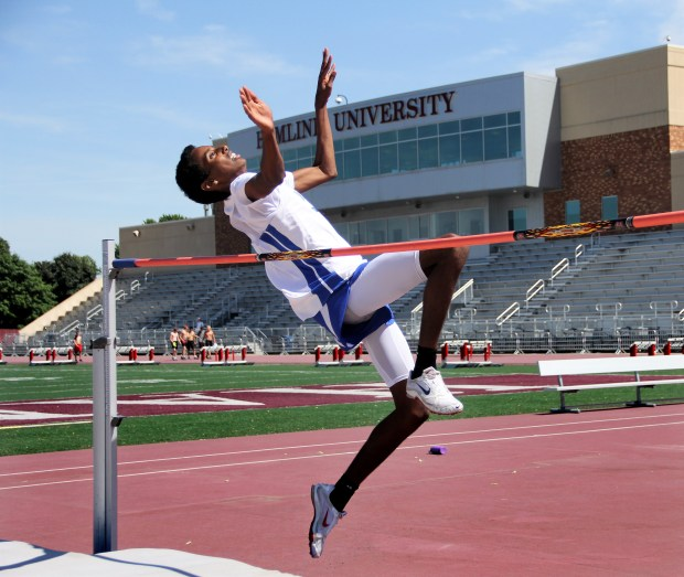 Mounds Park Academy sophomore Yahya Mader practices the high jump on Wednesday, June 7, 2017 at Hamline University in preparation for this weekend's Class A state track and field meet. Mader, who qualified for state in the high jump in his first year in the event, is a Muslim who's currently fasting for Ramadan. (Jace Frederick / Pioneer Press)