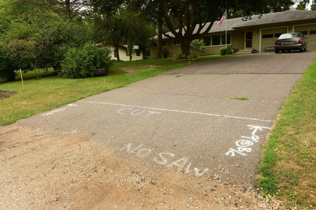 Tim and Diana Danielson feel they won, now that Lake Elmo has torn out the new street and sidewalks, installed only a few months ago, and is reinstalling them. The Danielsons' driveway will be cut as shown. (Scott Takushi / Pioneer Press)