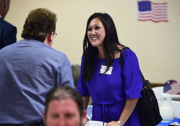 Jennifer Carnahan, chair of the Republican Party of Minnesota mingles at a Republican gubernatorial forum in Waconia on July 19, 2017. (Scott Takushi / Pioneer Press)