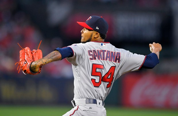 Minnesota Twins starting pitcher Ervin Santana throws to the plate during the first inning of a baseball game against the Los Angeles Angels, Saturday, June 3, 2017, in Anaheim, Calif. (AP Photo/Mark J. Terrill)