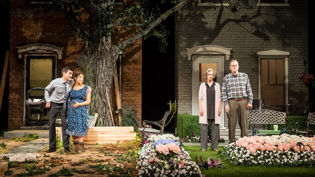 Jacqueline Correa, Dan Domingues, Sally Wingert and Steve Hendrickson in 'Native Gardens.' (Dan Norman / Guthrie Theater)
