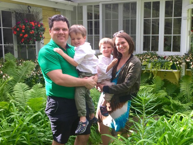 Stephanie Kennelly pictured with her husband, Kory Kennelly, and their sons, Jude (left) and Grant. (Stephanie Kennelly)