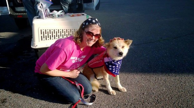 Molly Nemec poses with Lilac, one of the six Jindu dogs she helped rescue from Korea, in this photo taken on June 30, 2017. Brad and Molly Nemec's car broke down in downtown Stillwater as they were on their way pick up six dogs in Wisconsin. Brad Junker, a community service officer for the Stillwater Police Department, lent his personal vehicle to the Nemecs to pick up the dogs. (Courtesy of Molly Nemec)