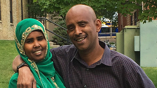 Abdisalam Wilwal, right, his wife, Sagal Abdigami, and their four children were detained more than 10 hours at the Portal, N.D., station of U.S. Customs and Border Protection, according to a suit filed Thursday, July 13, 2017, in federal court. (Courtesy of the ACLU)
