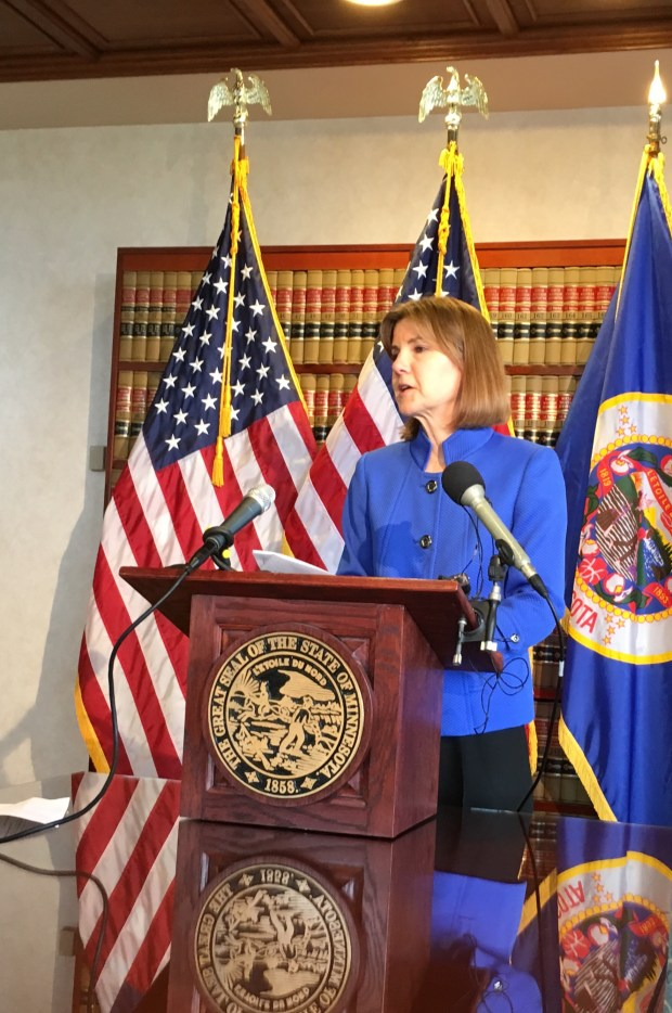 Ten Minnesotans were charged as part of the national health care fraud takedown, Minnesota Attorney General Lori Swanson announced in a news conference Thursday morning. (S. M. Chavey / Pioneer Press)