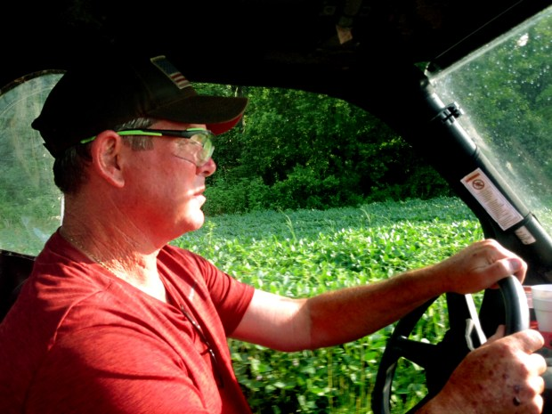 MAX WIDTH FOR PRINT: 10 INCHES -- Wearing protective goggles, Minnesota Vikings head coach Mike Zimmer drives around his property near Walton, Ky. on Tuesday, July 11, 2017. Zimmer is not past the serious stage with his troublesome right eye, but finally there is light at the end of his long, dark tunnel. Zimmer has had eight surgeries since November to restore vision that started fading the night before Minnesotaís Oct. 31, 2016 loss at Chicago. (Brian Murphy / Pioneer Press)