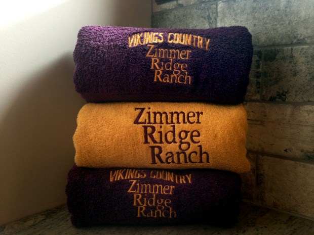 Hand towels in Vikings colors inside one of the bathrooms at Minnesota Vikings head coach Mike Zimmer's 176-acre property in Walton, Ky., on July 11, 2017. (Brian Murphy / Pioneer Press)