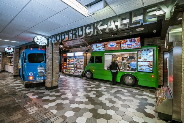 Food Truck Alley featuring Holy Land, Salty Tart Bakery and Red Cow at Minneapolis-St. Paul International Airport. (Courtesy of Metropolitan Airports Commission)