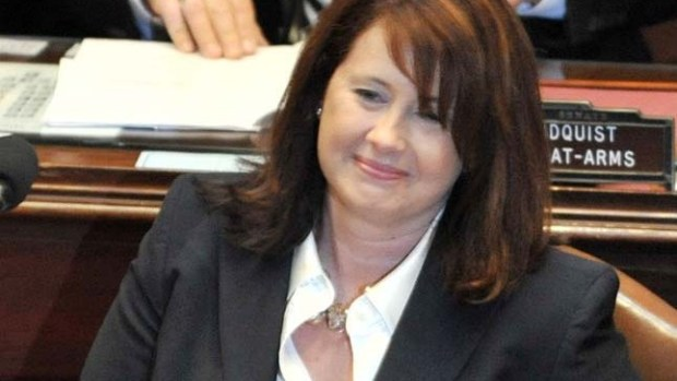 State Sen. Amy Koch, R-Buffalo, shown in the Minnesota Senate chambers as the 2011 Legislature convenes Tuesday, Jan. 4, 2011 in St. Paul, Minn., was elected Senate Majority Leader. (AP Photo/Jim Mone)