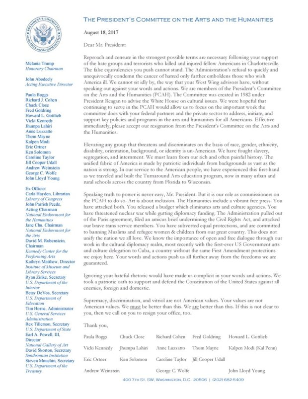 Resignation letter from the President's Committee on the Arts and Humanities