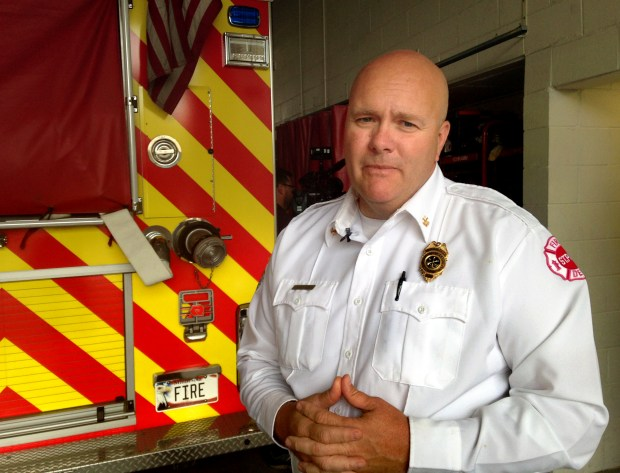 St. Paul Fire District Chief Conrad Ertz, photographed at a St. Paul fire station on Wednesday, Aug. 9, 2017, pulled a woman to safety from the Robert Street bridge on Tuesday, Aug. 8. (Mara H. Gottfried / Pioneer Press)