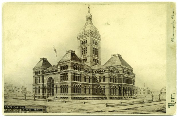 Minnesota's second Capitol was a stately red-brick building designed by respected Minneapolis architect LeRoy Buffington. It was already too small for the growing state government when it was completed in 1883. Plans for its replacement were in the works just a few years later. (Courtesy of the Minnesota Historical Society)