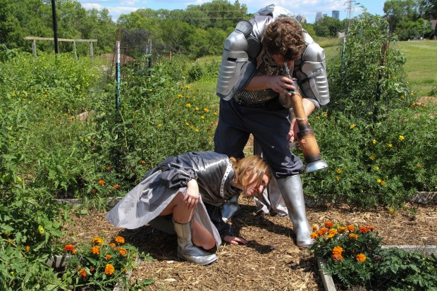 "Maddie Neal (Jupiter) and Isaac Bont (Jupiter) explore uncharted Twin Cities gardens in the picnic operetta, ""Baucis and Philomen."" (Jaffa Ahoronov/Mixed Precipitation)"