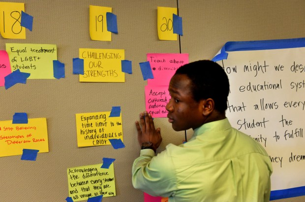 """We need to accept all cultures and respect all kinds of personalities,"" said Francis Koshay, from Park High School in Cottage Grove, before roundtable discussions begin to discuss diversity in schools at TIES Education Center in Falcon Heights on Friday, Feb. 17, 2017. Hundreds of students from around the metro area participate in roundtable discussions about ways to make schools more integrated and equitable. Koshay is in 11th grade and is originally from Liberia. (Jean Pieri / Pioneer Press)"